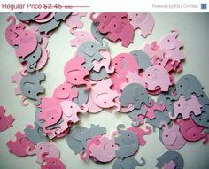 ON SALE 100 elephant punches, paper elephants, pink elephants, baby shower, embellishment, confetti, decoration on Etsy, $2.54 AUD