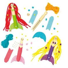 Mermaid Peg Doll Kits for Children to Make and Decorate (Pack of 4)