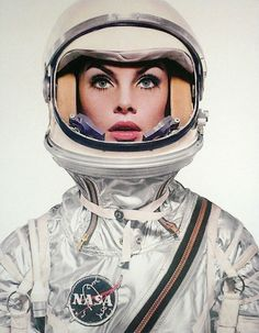 """In April 1965, Richard Avedon took photos of both Paul McCartney of The Beatles and fashion model Jean Shrimpton wearing a Mercury spacesuit with the nameplate """"V.I. Grissom"""" appearing on the suit for a Harpers Bazzar magazine article. Photo: Model Jean Shrimpton in the Mercury suit, by the great Richard Avedon."""