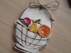 Keramický obrázek-Košík s ovocem