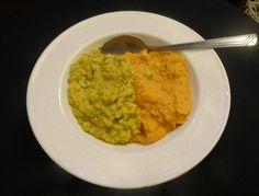 Heart-warming sweet potato & chickpea mash & milky veggie curry.