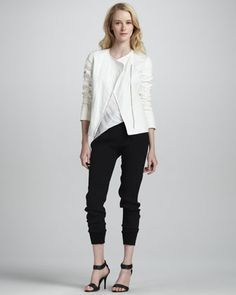 Leather-Sleeve Asymmetric Jacket, Mixed-Media Tank & Silk Jogger Pants by Vince at Neiman Marcus.
