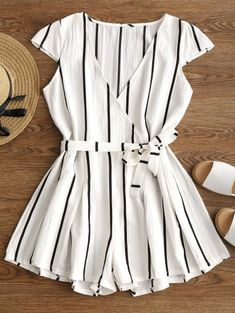 ad63479a74da  5 off  50 Sale Special for New Users.Plunging Neck Striped Belted Romper