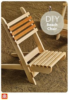 Here's How: Treat yourself to the comfort and style of this classic beach chair . by HOME HARDWARE Wooden Chair Plans, Wood Folding Chair, Folding Beach Chair, Chair Design Wooden, Wood Furniture Legs, Wooden Pallet Furniture, Deck Chairs, Outdoor Chairs, Adirondack Chairs