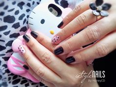 """""""Hello Cutie!"""" A simple GEL nail art design. Black and Pink nails with polka dots! My fingernails deserves something pretty!"""
