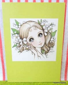 "An illustration of a kawaii girl with suzuran flowers. This is a postcard from the postcard book, ""Dreams O'Girl"" which was released in 2003. The illustration is by Macoto Takahashi, a famouse Japanese shojo manga artist in Japan."