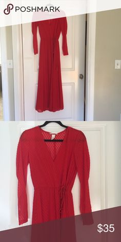 H&M | Kay Perry Beautiful Red Maxi Dress This is so beautiful!  Would make an awesome dress for the holidays!  Great condition!  Katy Perry collection! H&M Dresses
