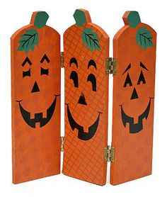 fall wood crafts | Wooden Fall Halloween Pumpkin Screen -Set of 6