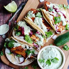 Blackened Fish Tacos with Avocado-Cilantro Sauce. Blackened Fish Tacos with Avocado-Cilantro Sauce. Fish Recipes, Seafood Recipes, Mexican Food Recipes, Cooking Recipes, Healthy Recipes, Best Fish Taco Recipe, Fish Taco Coleslaw Recipe, Cooking Tips, Recipies