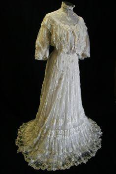 Wedding Dress, 1906  Worn by Christina Playfair on January 17, 1906, when she married William Dollar.  via NDSU