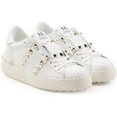 Women's Designer Sneakers White Leather Shoes, White Shoes, White Sneakers, Lace Up Shoes, Leather Sneakers, Me Too Shoes, Chunky Sneakers, Leather Trainers, Chunky Shoes