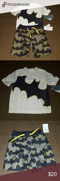 Batman Bathing suit set Toddler boy Batman swim trunks with matching rash guard. Both have built in UFP 35 UV protection.  NWT Old Navy Swim