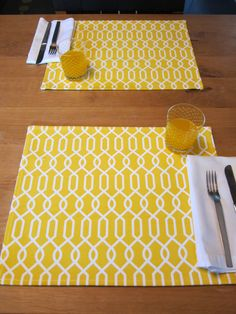yellow geometric placemats