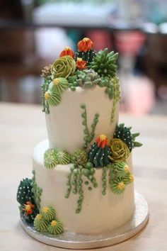 Buttercream and Naked Cakes 9 - Cake Decorating Simple Ideen Pretty Cakes, Cute Cakes, Beautiful Cakes, Amazing Cakes, Cupcakes Succulents, Kaktus Cupcakes, Nake Cake, Bolo Floral, Floral Cake