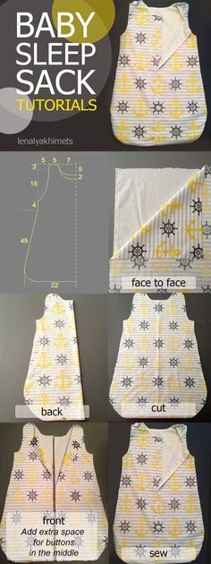 baby diy You will love to make your little one this Baby Sleep Sack Pattern and we have a video tutorial that will show you how. View the ideas now. Baby Sewing Projects, Sewing Projects For Beginners, Sewing For Kids, Free Sewing, Sewing Crafts, Sewing Tips, Sewing Hacks, Sewing Ideas, Bags Sewing