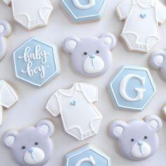 Baby Boy Cookies, Onesie Cookies, Teddy Bear Cookies, Heart Cookies, Baby Party, Baby Shower Parties, Baby Shower Themes, Baby Shower Azul, Baby Boy Shower