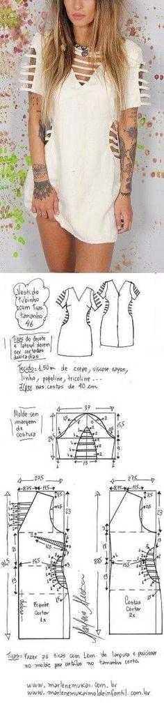 DIY – molde, corte e costura – Marlene Mukai. Vestido tubinho com tiras. Esquema de modelagem de vestido tubinho com mangas e tiras no decote, manga e lateral do 36 ao 56.