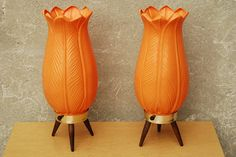 I Like Mike's Mid Century Modern - MOD ORANGE ACANTHUS LILY TABLE LAMPS