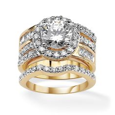 4.76 CT TW Round and Baguette DiamonUltra™ Cubic Zirconia Wedding Ring Set in 18k Gold-Plated