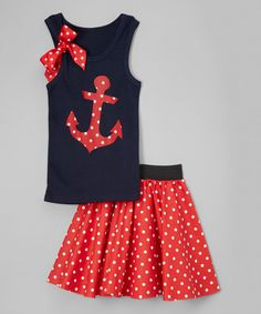 Love this Navy Anchor Tank & Red Dot Circle Skirt - Infant, Toddler & Girls on #zulily! #zulilyfinds