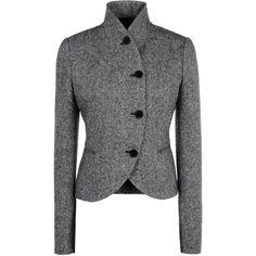 Stella Mccartney Tweed Tailoring Izzy Jacket ($1,700) ❤ liked on Polyvore featuring outerwear, jackets, coats, black heart print, stella mccartney jacket, fitted jacket, black fitted jacket, stand collar jacket and long sleeve crop jacket