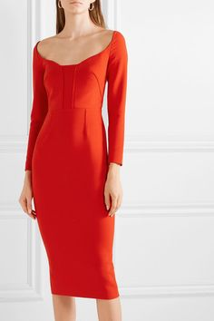 Red crepe Zip fastening through back polyester, viscose, elastane; lining acetate, polyester Machine wash Designer color: PoppyLarge to size. See Size & Fit notes. Meeting Outfit, Roland Mouret, Crepe Dress, Vintage Fashion, Bodycon Dress, Feminine, Clothes For Women, Outfits, Dresses