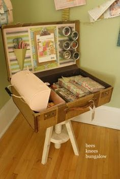 Buy old suitcase & line with pockets for art supply storage. (Crabapple vintage suitcases or recycle centre) - check eBay?