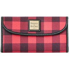 Dooney Bourke Tucker Continental Clutch ($118) ❤ liked on Polyvore featuring bags, handbags, clutches, dooney bourke purses, dooney bourke handbags, red purse, red handbags and red clutches