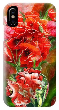 Red Poppies In Poppy Vase IPhone Case for Sale by Carol Cavalaris Art Phone Cases, Iphone Cases, Art Background, Stained Glass Art, Red Poppies, Basic Colors, Print Ads, Beautiful Artwork, Creative Director