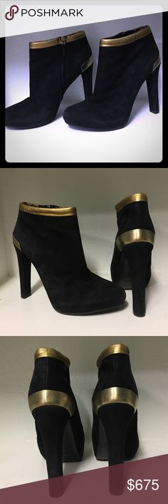Fendi Booties Glam glam glam black suede Fendi booties with gold trim along ankle and back of heel. The 4 inch heels are flawless no nicks . Fendi Shoes Ankle Boots & Booties
