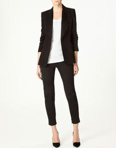 1. Black Blazer Look - long and lean, paired with your new dark jeans, a long tank top and heels