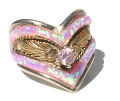 Pink Opalescent Ring with Imitation Opal Pink by RibbonsEdge