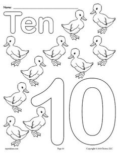 Free Printable Number Ten Coloring Page