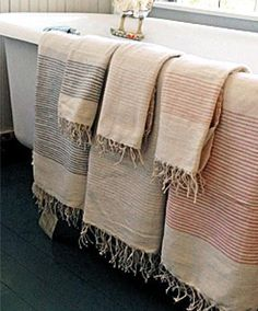 Stylish and soft, these beautiful Fair Trade Ribbed Turkish Bath Towels from Creative Women are hand-woven and spun with natural cotton in a Turkish inspired style by Ethiopian artisans. The towels fe Turkish Bath Towels, Bath Sheets, Hand Spinning, Fair Trade, Linen Bedding, Hand Towels, High Falls, Guest Bath, Guest Room