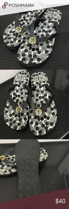 TORY BURCH Black Rubber Gold Logo Wedge Sandles TORY BURCH Black Rubber Gold Logo Wedges.Looks like A size 8. I have measurements in pics Tory Burch Shoes Sandals
