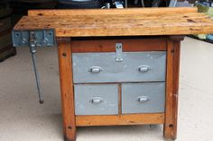 Industrial Wood Work Bench with Vise and Metal Utility Drawers