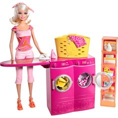 """Barbie - Spin to Clean Laundry Room Furniture and Doll Playset - Mattel - Toys""""R""""Us New Barbie Dolls, Barbie Sets, Barbie Doll House, Barbie And Ken, Barbie Game, Barbie Stuff, Barbie Fashionista, Barbie Doll Accessories, Dollhouse Accessories"""