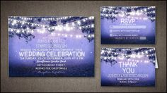 STRING LIGHTS RUSTIC BLUE WEDDING INVITATION contact me for other colors