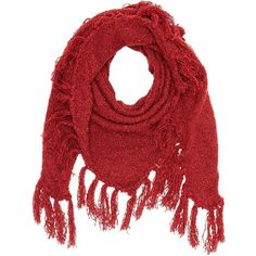 Charlotte Russe Fringe Triangle Wrap Scarf ($4.99) ❤ liked on Polyvore featuring accessories, scarves, red, deep cherry red, chunky knit scarves, wrap scarves, red shawl, triangular shawl and wrap shawl