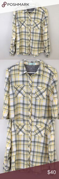 Maurice's Gray & Yellow Plaid Shirt! Size xl! Maurices Tops Tees - Long Sleeve
