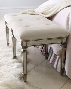 """Denison"" Mirrored Bench - Neiman Marcus 43""Wx19""Dx21.5""T antique mirror. ivory cotton. pewter finish. $549"