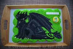 Toothless, the Night Fury dragon pull apart cupcakes cake #edibleart #dragon #toothless