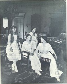 romanovs: olga. tatiana. marie. anastasia. otma. last formal photograph of OTMA. 1915.
