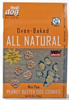 ALL NATURAL Peanut Butter Mini-Paw Dog Cookies - 16oz Box - $3.24