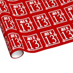 13th Birthday RED and WHITE Hearts For Her V01 Gift Wrapping Paper $17.95. To see more birthday wrapping paper, go to http://www.zazzle.com/jaclinart/products/cg-196333019616737524 #birthday #giftwrap #teen #teenager #gift #present #wrap #party