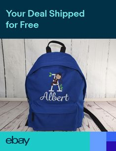 Personalised Kids Backpack Blue Embroidered Monkey Monogram + Name Rucksack 618623a5b962d