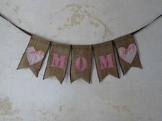 MOM Banner with pink gingham hearts by ThisandThatCrafter on Etsy