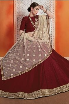 Lovely Maroon Color Art Silk Zari Work Lehenga Choli Shop For lehenga choli with customizable blouse Online in India at VJV Fashions. Indian Lehenga, Lehenga Saree, Bridal Lehenga, Simple Lehenga Choli, Plain Lehenga, Party Wear Lehenga, Lehenga Choli Online, Maroon Color, Blouse Online