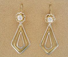 Triple Diamondz Two Tone  Convertiblez 4 pc set by EarringConvertiblez, $15.00