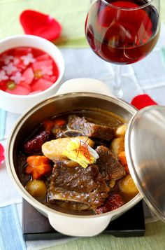 Galbi Jjim : Short Ribs Braised in the Signature Soy Sauce with Chestnuts, Carrots, and Dates.